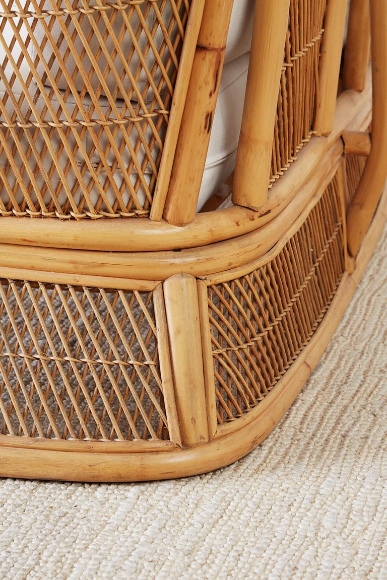 Midcentury Bamboo Rattan Wicker Settee Or Loveseat For
