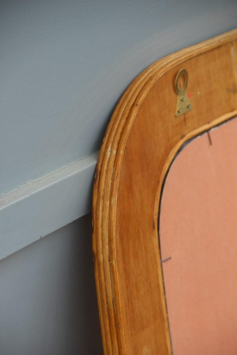 Midcentury Bamboo Wall Mirror Vivai del Sud Pink Flower Leaves Rectangular For Sale 8