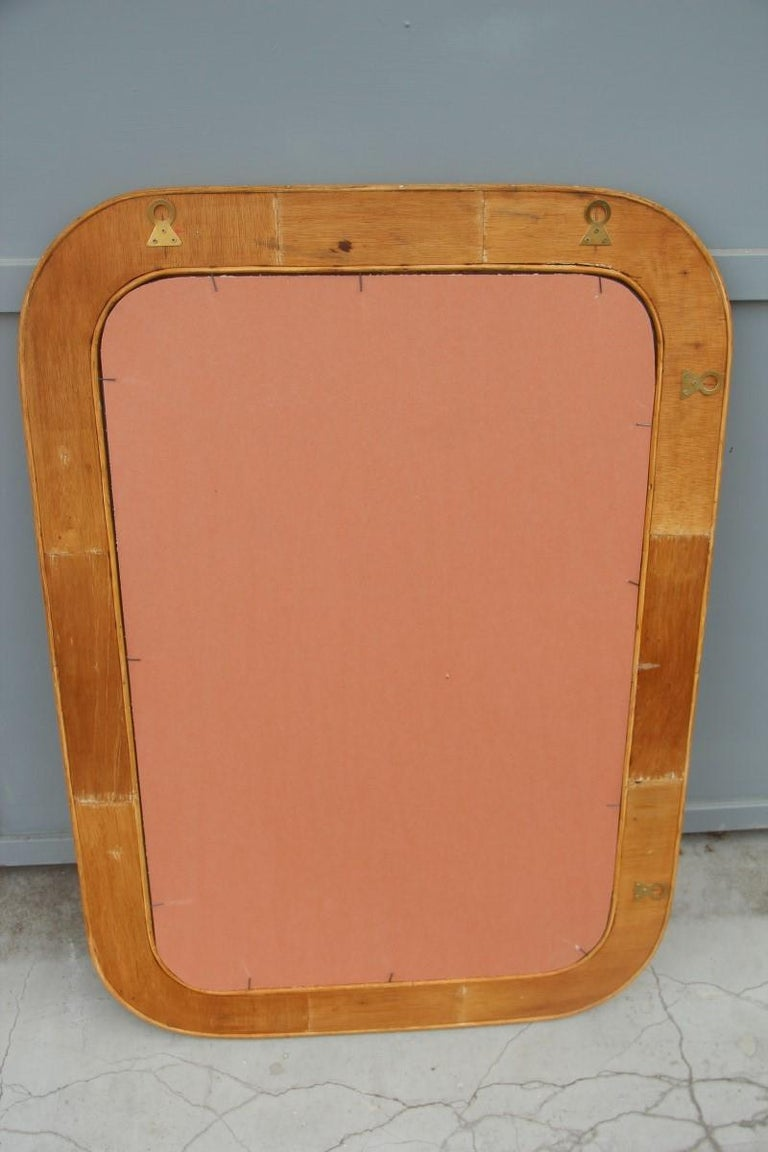 Midcentury Bamboo Wall Mirror Vivai del Sud Pink Flower Leaves Rectangular For Sale 6