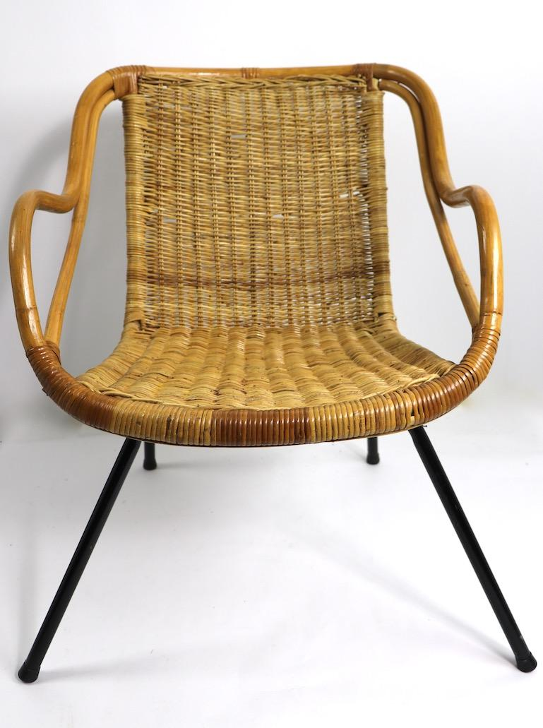 Mid Century Bamboo Wicker And Metal Chair