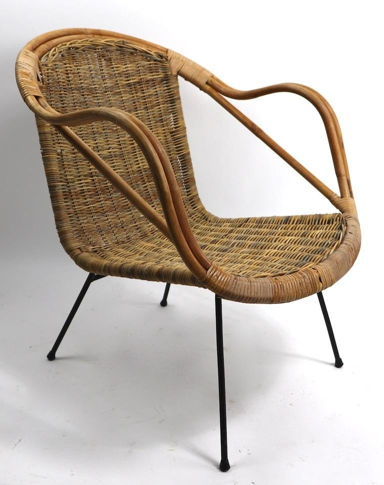 Mid Century Bamboo Wicker And Wrought Iron Chair At 1stdibs