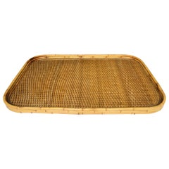 Midcentury Bamboo Wicker Rattan Bar Tray in the Style of Gabriella Crespi