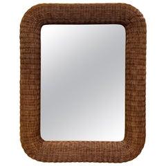 Mid Century Bamboo Wicker Rattan Mirror