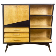 Midcentury Bar Cabinet in Wood and Black, Spain, 1950s
