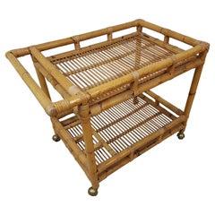 Midcentury Bar Cart Rattan Bamboo, France, 1960