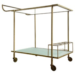 Mid Century Bar Cart with Metal Frame and Frosted Glasstop