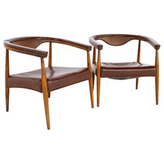 Mid Century Barrel Back Leather Lounge Chairs, a Pair