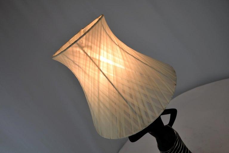 Midcentury Barsony Black Female Figure Table Lamp For Sale 4