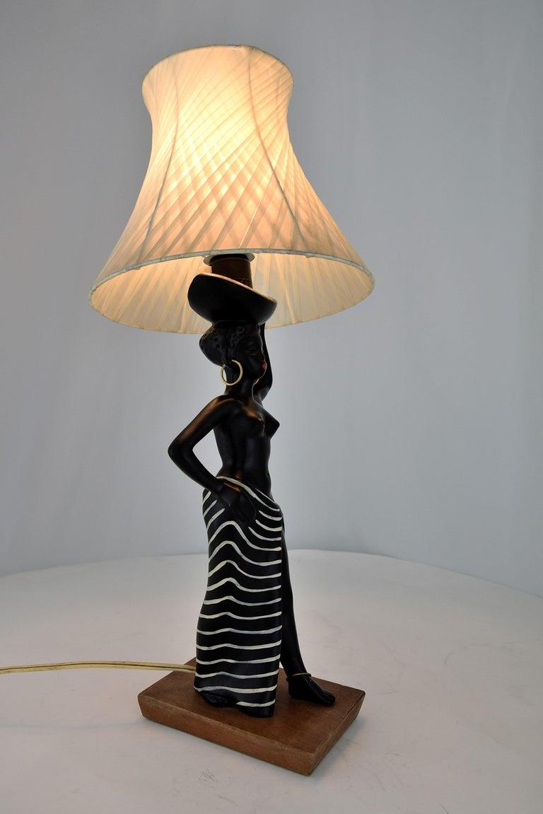 Midcentury Barsony Black Female Figure Table Lamp For Sale 5