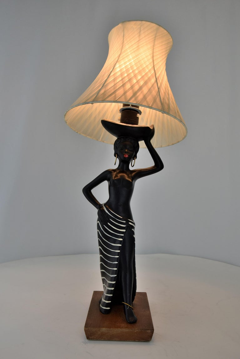 Midcentury Barsony Black Female Figure Table Lamp For Sale 7