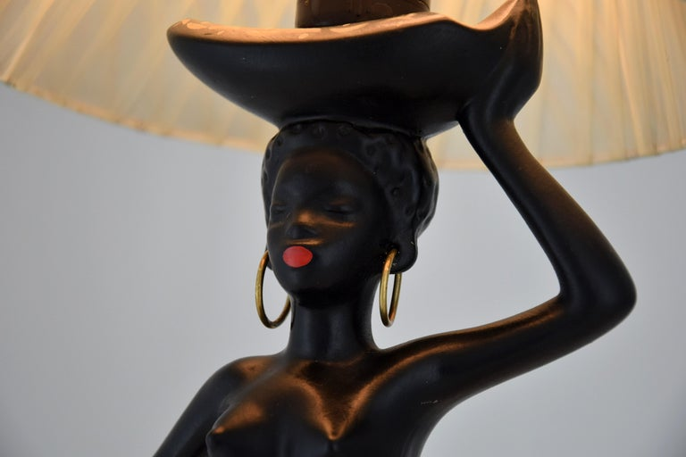 Midcentury Barsony Black Female Figure Table Lamp For Sale 8