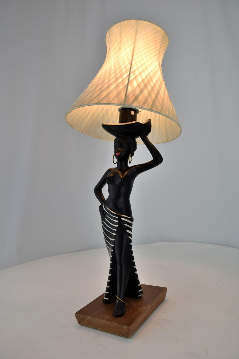 Midcentury Barsony Black Female Figure Table Lamp For Sale 9