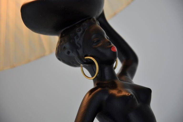 Midcentury Barsony Black Female Figure Table Lamp For Sale 1