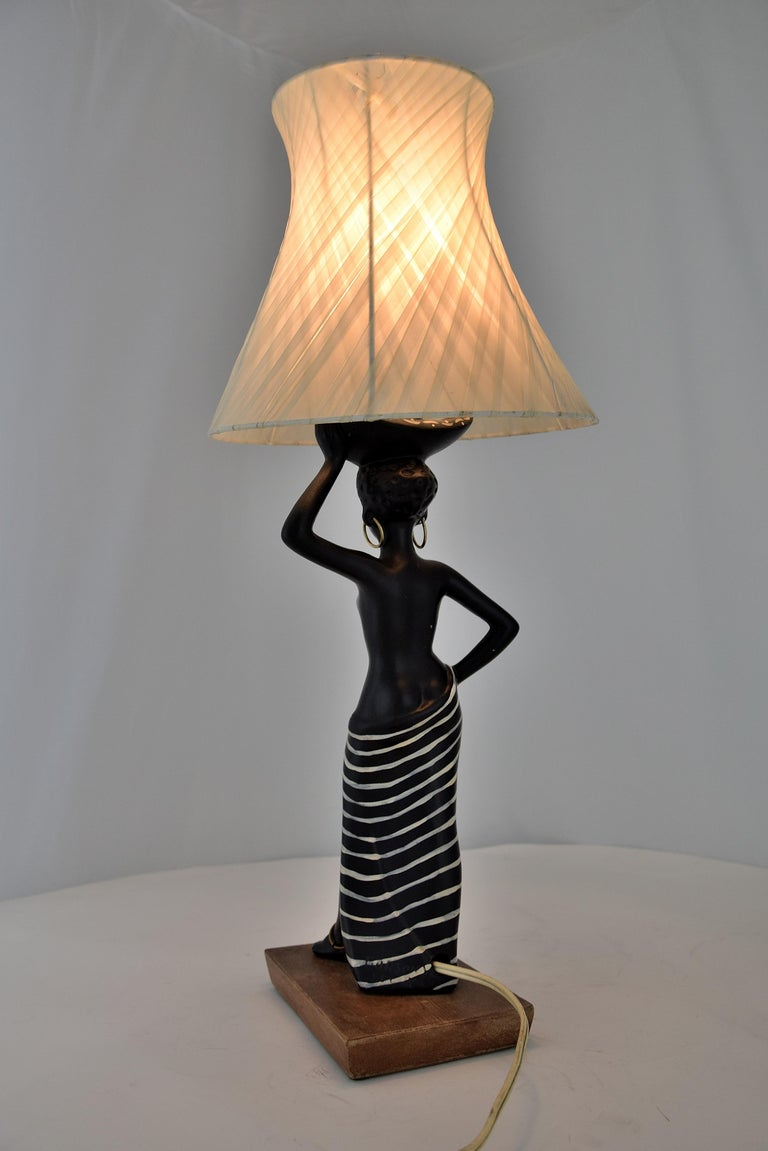 Midcentury Barsony Black Female Figure Table Lamp For Sale 2