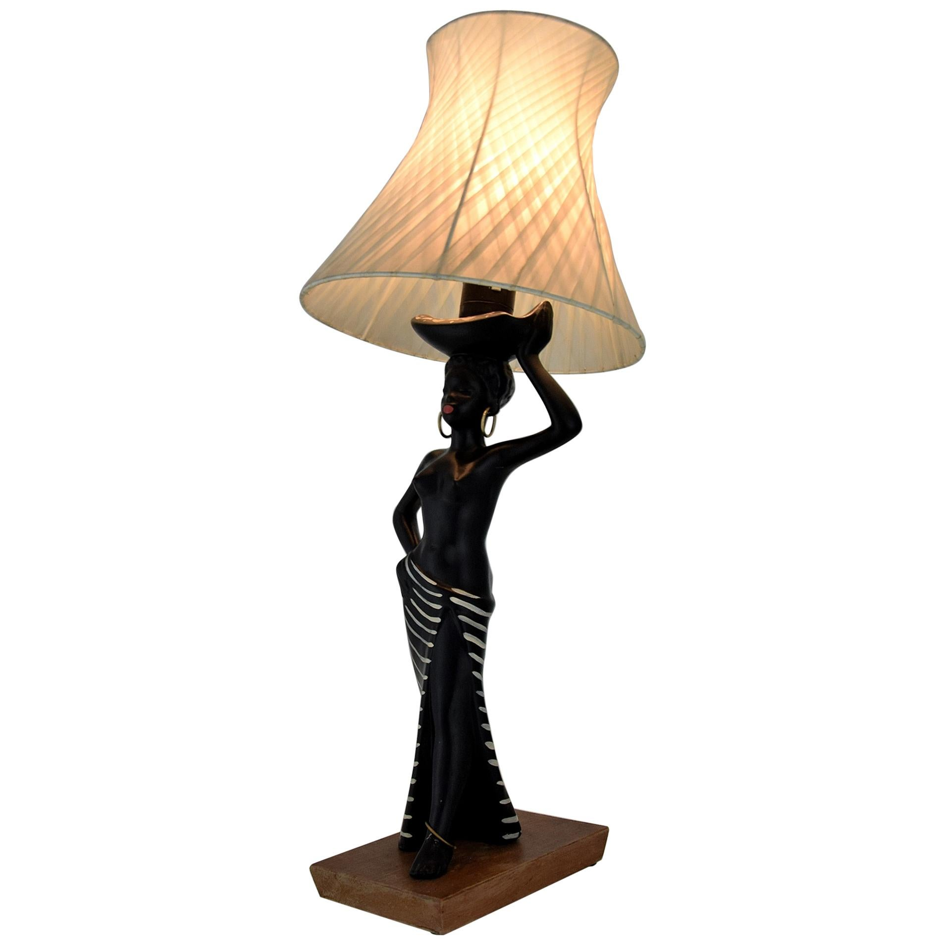 Midcentury Barsony Black Female Figure Table Lamp