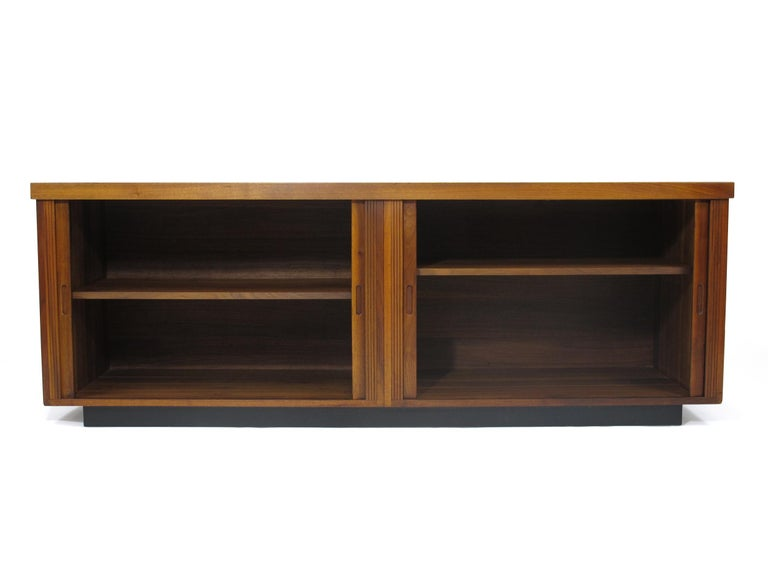 Mid-Century Modern Midcentury Barzilay Tambour-Door Walnut Credenza For Sale