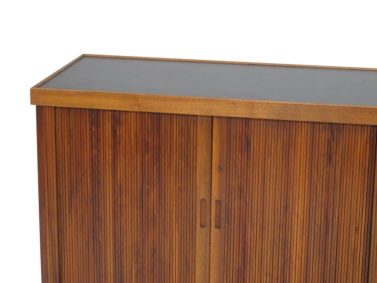 American Midcentury Barzilay Tambour-Door Walnut Credenza For Sale