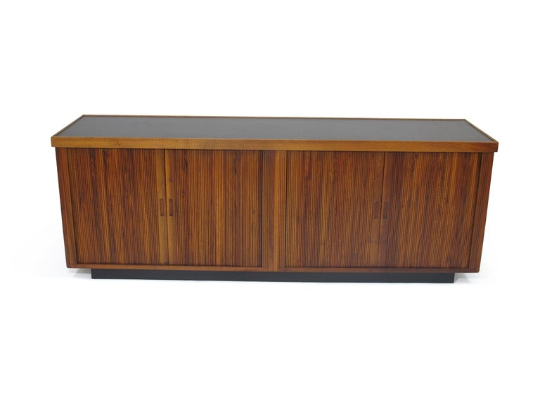 Oiled Midcentury Barzilay Tambour-Door Walnut Credenza For Sale