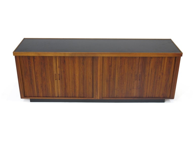 Midcentury Barzilay Tambour-Door Walnut Credenza In Good Condition For Sale In Berkeley, CA