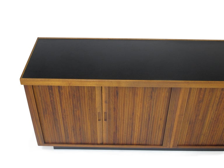 20th Century Midcentury Barzilay Tambour-Door Walnut Credenza For Sale