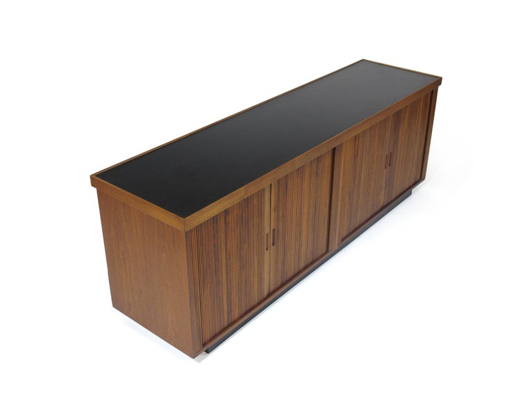 Midcentury Barzilay Tambour-Door Walnut Credenza For Sale 1