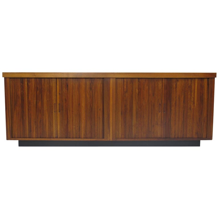 Midcentury Barzilay Tambour-Door Walnut Credenza For Sale