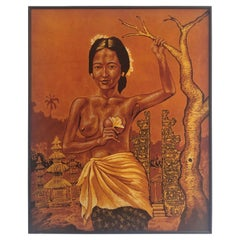 Mid Century Batik Painting of Nude with Flower
