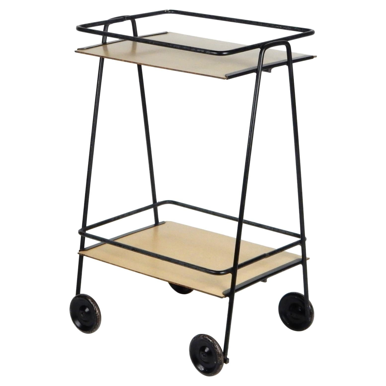 Mid-Century Bauhaus Wrought Iron Tea Trolley Bar Cart