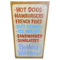 Mid Century Beach-Side Hamburger Shack Menu Board