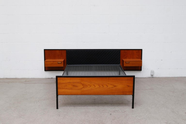 Mid-Century Modern Midcentury Bed with Built in Nightstands For Sale