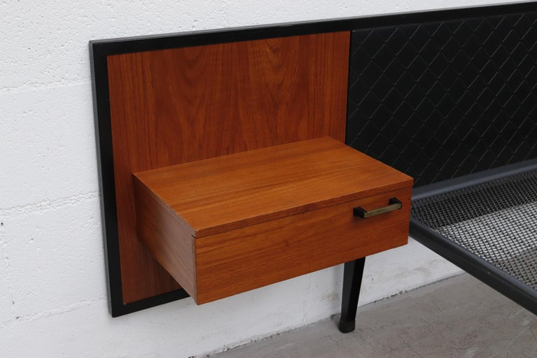 Dutch Midcentury Bed with Built in Nightstands For Sale
