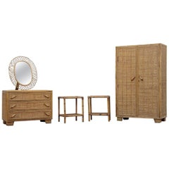 Midcentury Bedroom Sets Italian Bamboo Bonacina Chest of Drawers Wardrobe