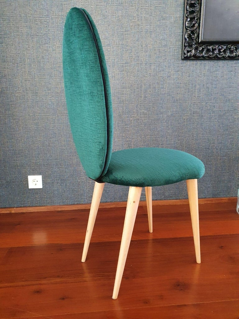 Midcentury Beech Wood and Fabric Dining Table & Six Chairs by Umberto Mascagni For Sale 3