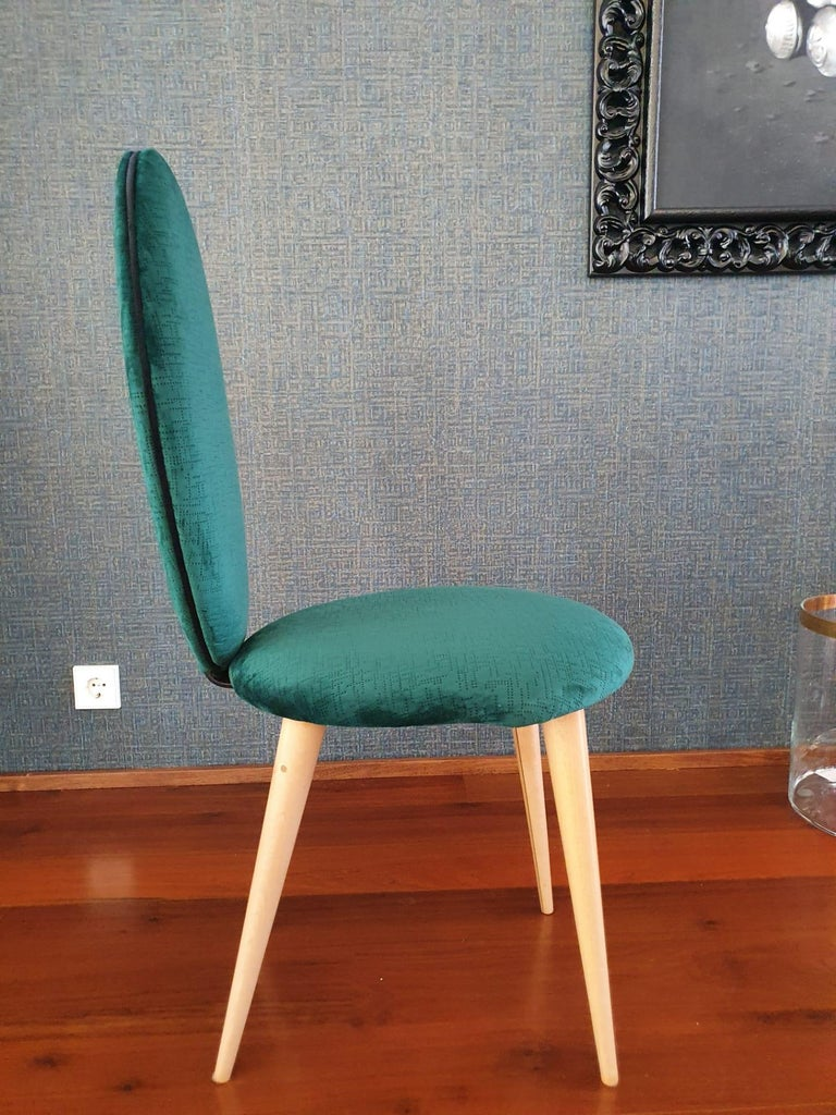Midcentury Beech Wood and Fabric Dining Table & Six Chairs by Umberto Mascagni For Sale 5