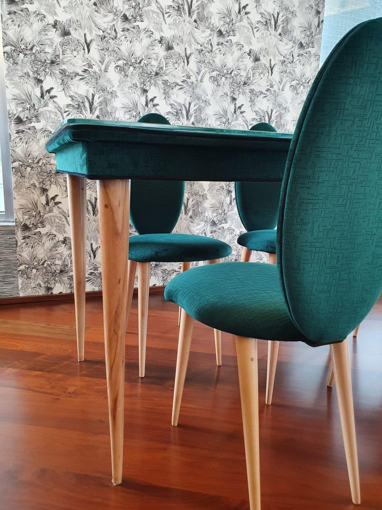 Italian Midcentury Beech Wood and Fabric Dining Table & Six Chairs by Umberto Mascagni For Sale