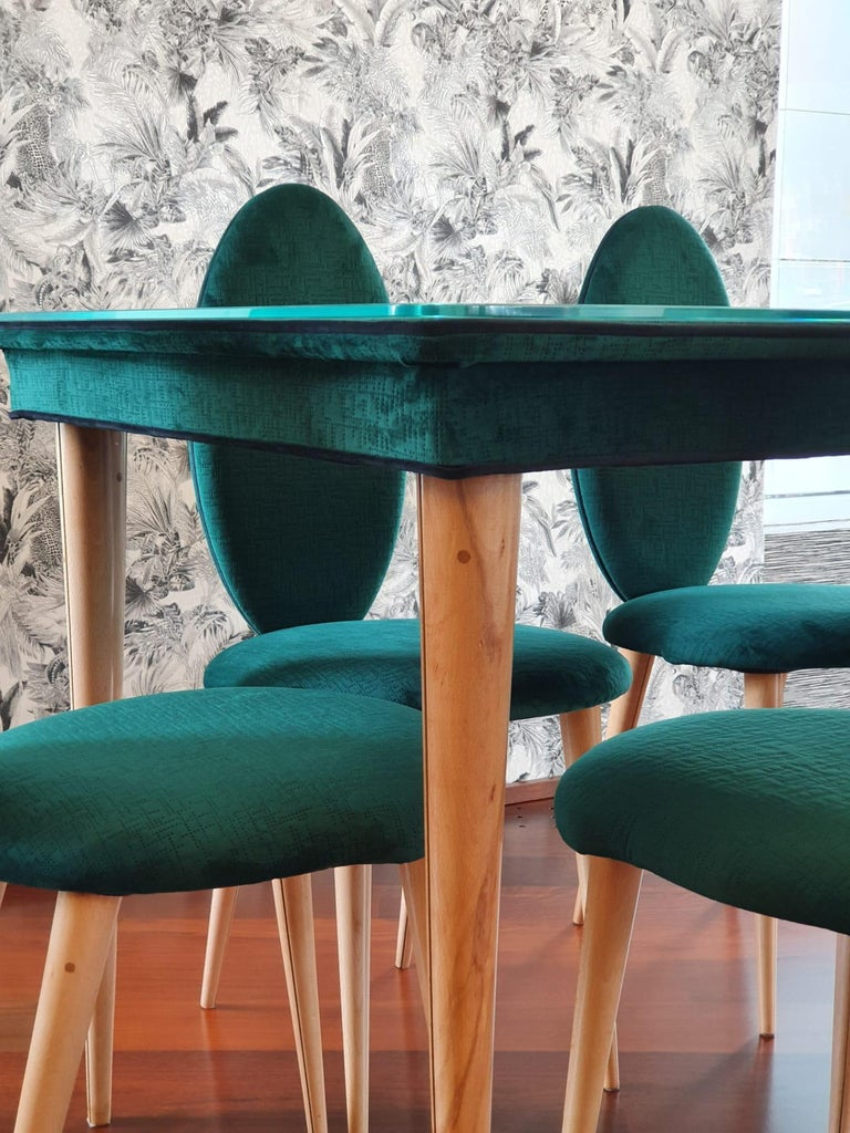 Midcentury Beech Wood and Fabric Dining Table & Six Chairs by Umberto Mascagni In Good Condition For Sale In Matosinhos, PT