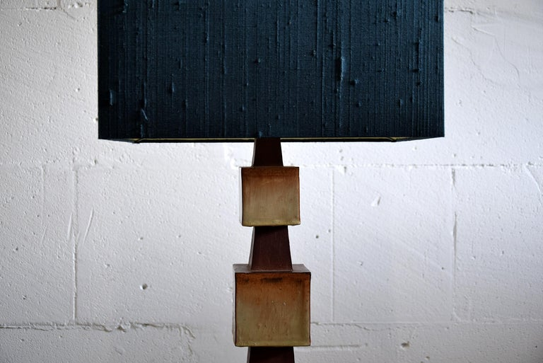 Mid-Century Modern Midcentury Beige and Blue Ceramic Table Lamp For Sale