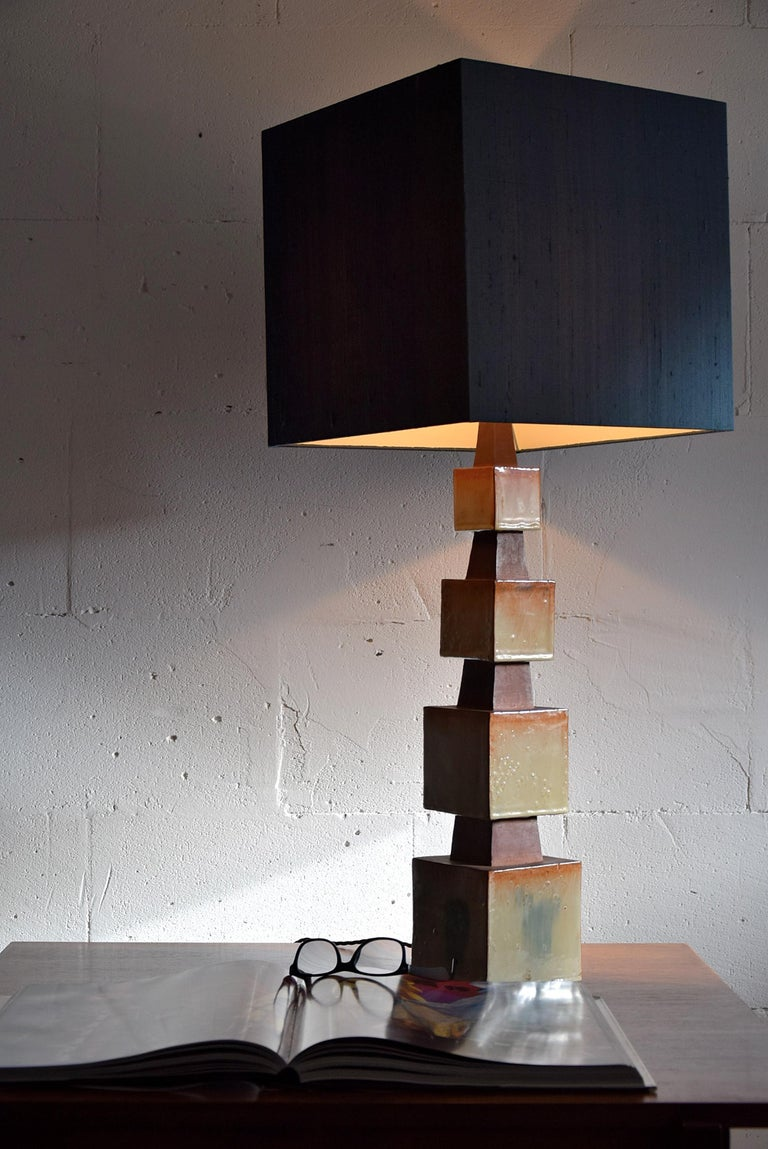 Mid-20th Century Midcentury Beige and Blue Ceramic Table Lamp For Sale