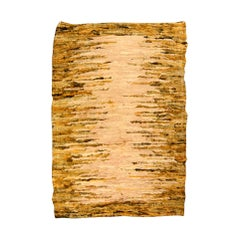 Midcentury Beige & Yellow Hand Knotted Wool Rag Rug
