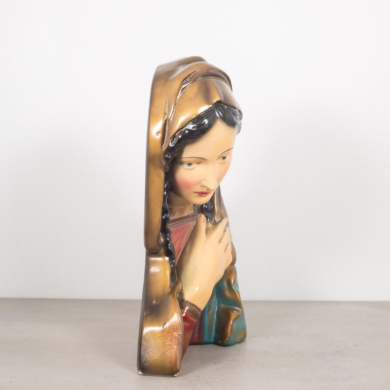 Mid-Century Modern Midcentury Belgian Virgin Mary Plaster Bust, circa 1950 For Sale