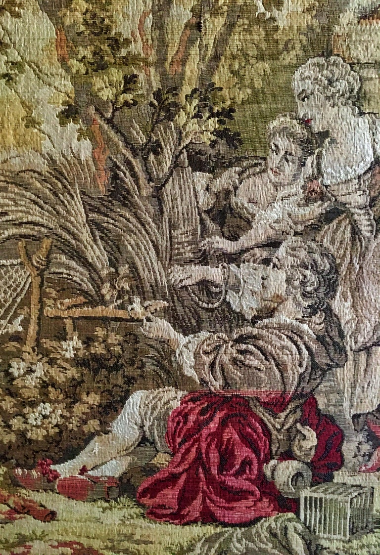 Wool Mid-Century Belgium Aubusson Style Framed Tapestry For Sale