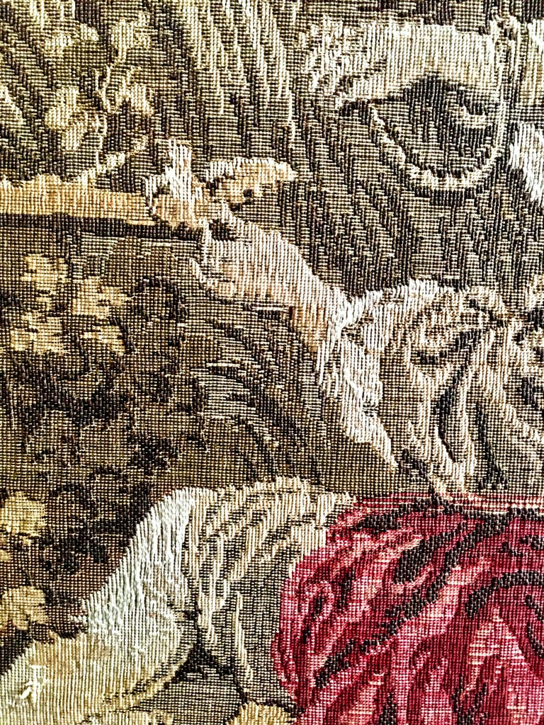 Mid-Century Belgium Aubusson Style Framed Tapestry For Sale 2