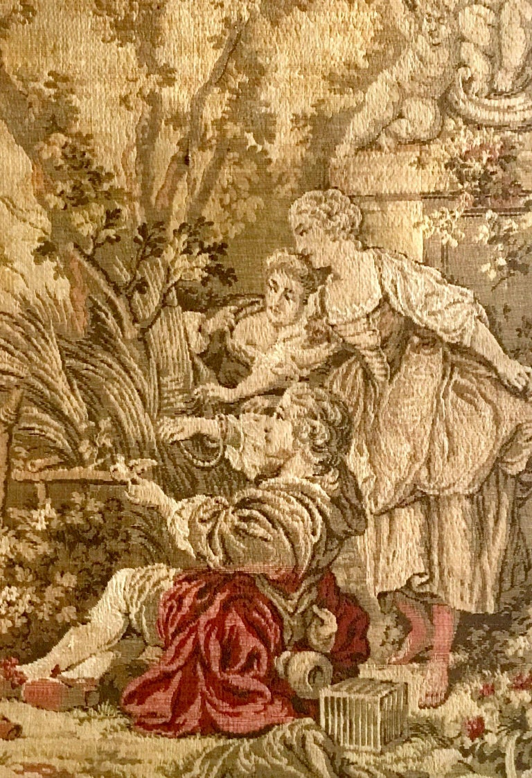 20th Century Mid-Century Belgium Aubusson Style Framed Tapestry For Sale