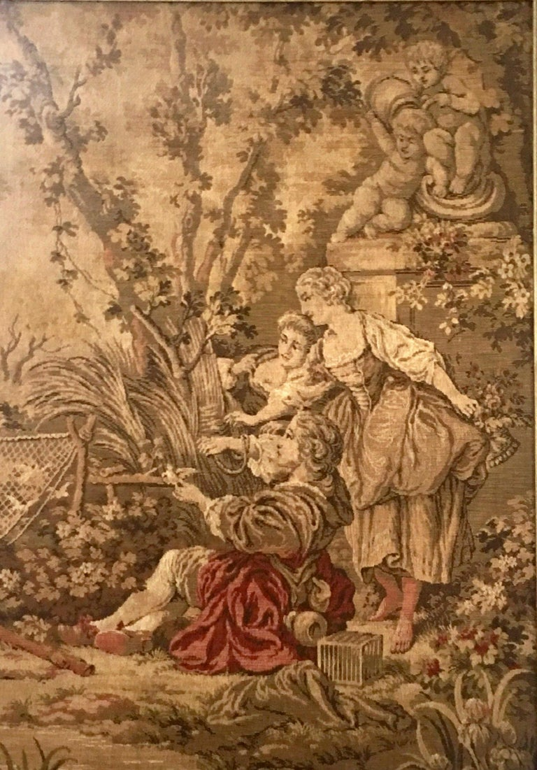 Mid-Century Belgium Aubusson Style Framed Tapestry In Good Condition For Sale In West Palm Beach, FL