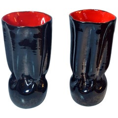 Pair of Black & Red Ceramic Vases France 1950's