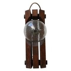 Mid-Century Belgium Pine and Glass Table Lamp