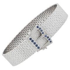 Mid Century Belt Bracelet with Sapphires in 18 Karat White Gold