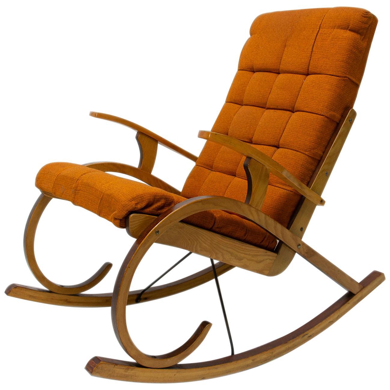 Midcentury Bentwood Rocking Chair, Czechoslovakia, 1960s