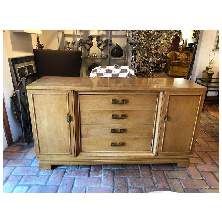 Mid Century Bernhardt Credenza or Dresser with Greek Key Handles For Sale 8