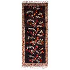 Midcentury Bessarabian Kilim Black Beige Red Floral Turkish Flat-Weave Rug